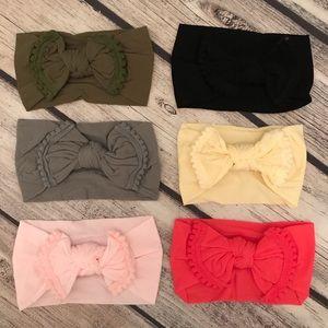 Other - Brand New Set of 6 Soft Nylon Bow Headbands